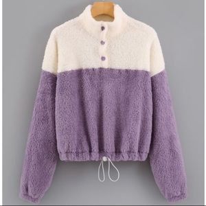 SHEIN Teddy Sweater Drawstring Hem Purple White